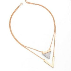 Gold V shaped marble necklace
